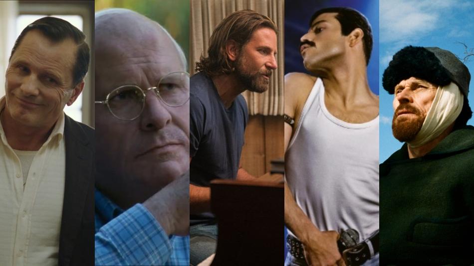 Da esquerda para a direita temos os atores Viggo Mortensen, Christian Bale, Bradley Cooper, Rami Malek, Willem Dafoe. Todos em cenas dos seus respectivos filmes.