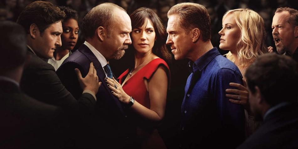 A foto mostra Chuck Rhoades (Paul Giamatti) e Bobby Axelrod (Damian Lewis), os dois personagens principais da série se encarando entre um grupo formado pelos personagens coadjuvantes